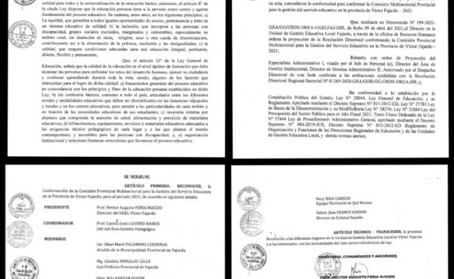SE CONFORMA LA COMISIÓN PROVINCIAL MULTISECTORIAL PARA LA GESTIÓN DEL SERVICIO EDUCATIVO EN LA PROVINCIA DE VÍCTOR FAJARDO, PARA EL PERIODO 2021