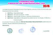 COMUNICADO SE CANCELA PROCESO CAS 2018