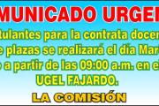 Comunicado Urgente Contrata Docente 2017